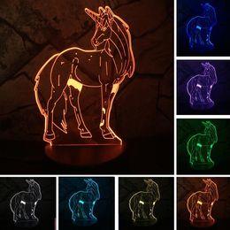 Lámpara de mesa de atenuación online-Luminaria Nuevo 7 Cambio de Color Unicornio 3D Dimming illusion Led Luces Nocturnas Mesa LED Mesa de noche Lámpara de Dormir Niños Kids Xmas DropShippin