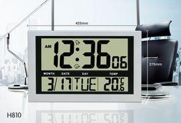 цифровой дисплей температуры стены Скидка Простой цифровой настенные часы календарь ЖК-дисплей большое количество современный будильник температура для домашнего/офисного использования H810 белый