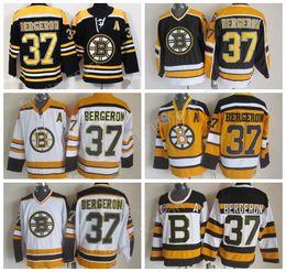 Wholesale Boston Sales - Boston Bruins 37 Patrice Bergeron Jersey 2018 Ice Hockey Men Black White Yellow Bergeron Throwback Jerseys Vintage All Stitched Men Sale