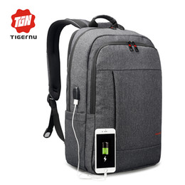Wholesale Canvas Bagpack - 2018 Tigernu Anti-thief USB bagpack 15.6inch laptop backpack for women Men school backpack Bag for boy girls Male Travel Mochila