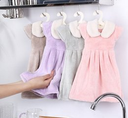 Wholesale Thick Kitchen Towels - 1PC Soft Hand Towel Thick Cloth Shape Design Bathroom Kitchen Use Children Kid Hanging Absorbent Microfiber Coral Velvet
