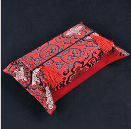 2019 étui en fleurs de soie Boîte à mouchoirs en tissu de fleurs chinoises Housse de serviette de visage en brocart de soie de haute qualité promotion étui en fleurs de soie