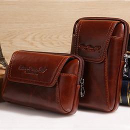 bolso de la cadera del teléfono celular Rebajas Hombres de la alta calidad de cuero genuino Vintage Hip Bum Belt Purse Fanny Pack Waist Bag bolsa Celular teléfono móvil Pocket Cigarette Case