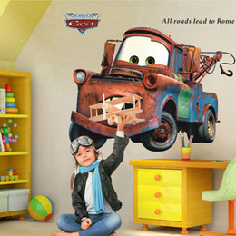 Wholesale Wallpapers For Children Room - Cartoon Car Child Room Wall Stickers for Kids Room Boy Bedroom Wall Decals Home Decor Poster 3D Car Wallpaper Art Mural