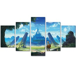 Wholesale Room Painting Games - MingTing - 5 Panel Canvas Wall Art Zelda Legend Game Poster Painting Modern Home Decor For Living Room Study Room No Frame