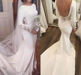 Wholesale wedding dresses open front white - Modest Open Back Mermaid Wedding Dresses 2018 Long Sleeves Bateau Front Split Court Train Lace Sexy Bridal Gowns Plus Size Cheap Customized