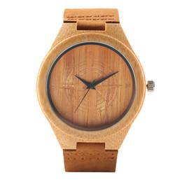 2019 mejor correa de cuero marrón Correa de cuero reloj de madera reloj de hombre Marrón de moda reloj de pulsera de bambú Mejor regalo para hombres y mujeres relogios masculino rebajas mejor correa de cuero marrón