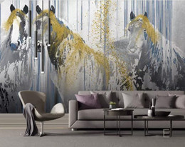 3d drawing paper Promo Codes - Custom wall papers non-woven 3d stereoscopic Hand drawn abstract golden horse 3d wall paper for living room background wall