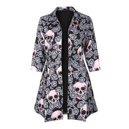 Gothic Skull Print Jacke Mäntel Herbst Herbst eine Linie Half Sleeve Cool Turndown Kragen Frauen Button Trench Plus Größe Goth Jacken von Fabrikanten