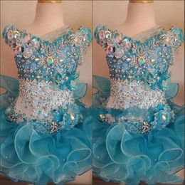Kristallkleider für kinder online-2018 Cupcake Pageant Kleider für kleine Mädchen Baby Perlen Organza Cute Kids Short Abendkleider Infant Ocean Blue Crystal Geburtstag Party Rock
