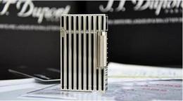 Wholesale Thin Gas Cigarette Lighter - 100% New ST memorial Black & silver thin stripes bright sound gas lighter