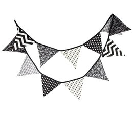 Wholesale Pennants Banner - Triangle Shape String Flag Printed Round Dot Stripe Pattern Cotton Pennants Resuable Tent Hanging Banner For Baby Photography Props 13 5wf B