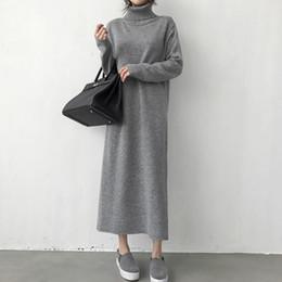 2d6d42b1f90 rollkragen dick stricken lang 2018 Winter schwarz Pullover Kleid Frauen  eine Linie dick stricken langes Kleid weiblich lose Mädchen rabatt dickes  ...