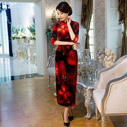 Wholesale Velvet Cheongsam - YZ Black Red Print Sexy Traditional Chinese Women Dress Velvet Vintage Flower Qipao Lady Slim Long Cheongsam Plus Size 4XL