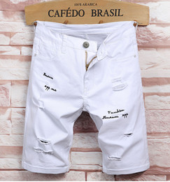 Wholesale Lettering Light - Men's Summer New Ultra-high Stretch White Hole Denim Shorts Jeans Men's Summer Cotton Fashion Lettering Embroidery Knee Length Jeans