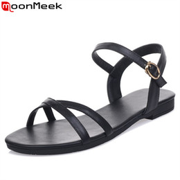 Wholesale Simple Ladies Flat Shoes - MoonMeek 2017 new genuine leather women sandals fashion solid colors buckle flat summer sandals simple comfortable lady shoes