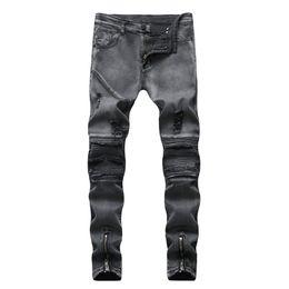 2019 strappati uomini jeans patch Moda Hip Hop Patch Uomini Retro Jeans Ginocchio Rap Hole Jeans con cerniera Jeans Uomo Sciolto Slim Distrutto Strappato Strappato Jeans Uomo J180715 sconti strappati uomini jeans patch