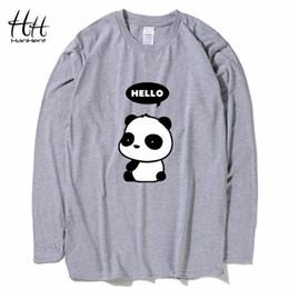 303ab281a5ee HanHent 2018 new cotton long sleeve t-shirt men funny style hello panda  creative design o-neck slim fashion full t shirt male