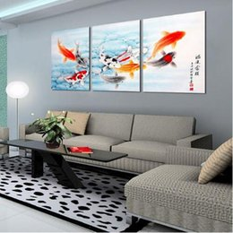 Wholesale fishing pictures free - Free shipping 3 Piece Koi Fish Wall Art Chinese Painting Wall Art on Canvas Home Decor Modern Wall Picture for Living Room