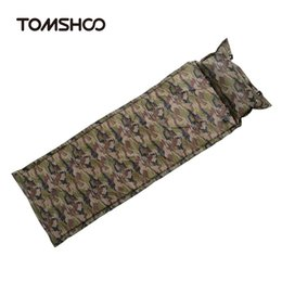 Wholesale Automatic Inflating Mattress - TOMSHOO Self Inflating Camping Mattress Inflatable Sleeping Pad Camping Air Mattress with Pillow Portable Folding Beach Mat