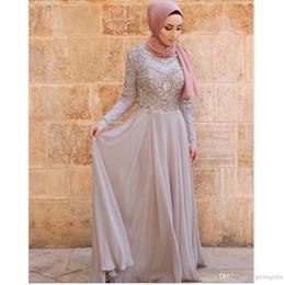 Wholesale Crystal P - 2018 Prom Dresses A Line High Neck Long Sleeves Grey Chiffon Silver Beaded Crystals Shinny Islamic Dubai Abaya Kaftan Hajib Muslim Evening P