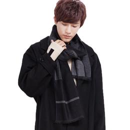 Sciarpa uomo all'ingrosso grande formato 210 cm nero lana filatura donne a strisce inverno sciarpa imitazione scialle di cachemire lavorato a maglia caldo plaid collo da
