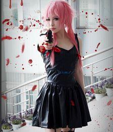 Wholesale Gasai Yuno Cosplay - New Anime Future Diary 2nd Mirai Nikki Yuno Gasai Black Dress Costume Cosplay