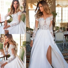 Argentina 2018 Modest Long Sleeves full Lace Gasa Vestidos de novia Sheer Appliques Split Vestidos nupciales Summer Bohemian Bodas Barato abito da sposa supplier summer floral dresses for weddings Suministro