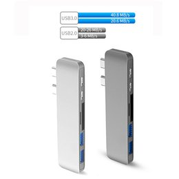 Lector de mochila online-Hubs USB Tipo C Hub 6in1 Dongle USB 3.0 Transmisión USB-C Hub para MacBook con lector de tarjetas SD TF Envío desde EE. UU.