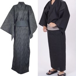 9b85f62f73 2019 Men Japanese Kimono Yukata Bathrobe Pajamas Cotton Robe Clothing Long  Summer New