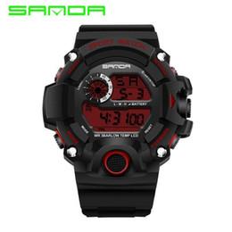 Wholesale Shockproof Watches - 2018 Military Electronic Wrist Watch Sport Top Brand Sanda Digital Wristwatches Men G Style Shock Watch Waterproof Shockproof