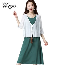 2e94bf80775 Uego 2018 New Fashion Cotton Linen Two Piece Set Dress Suits Bow Sashes Women  Casual Midi Dress Plus Size Loose Ladies