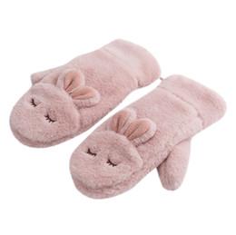 rn geschenke Rabatt Kawaii Kaninchen Weichem Plüsch Handschuh Frauen Hängende Halshandschuhe Winter Warme Verdickung Handschuh Weihnachtsgeschenk Für Mädchen # RN