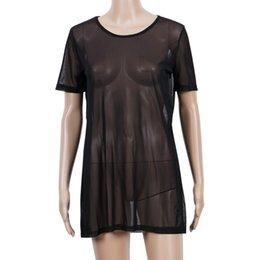 Wholesale Transparent Sexy Blouses - Sexy Women Blouse 2018 Hot Sale Fashion Transparent Mesh See Through Short Sleeve Cool Oversize Cover Tops Blouse