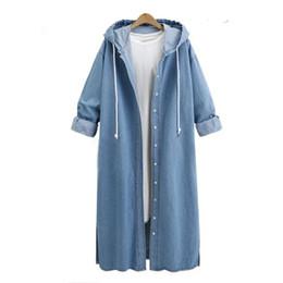 Wholesale Denim Jackets Hoodie Women - Plus Size L-5XL ZANZEA Women Hoodies Long Sleeve Denim Blue Jackets Casual Loose Coats Winter Autumn Vintage Hooded Outwear