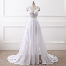 Wholesale Real Covers - Scoop Neck Chiffon Beach Wedding Dress With Lace Appliques 2018 New White Wedding Gowns Button Back