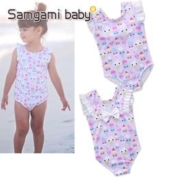 Wholesale 4t Girls Swimsuit - ins Hot Summer New Girls Lovely Flying Sleeves Ice-cream Printing Swimsuit Baby Girls Bathing Suits Kids Swimwear M106