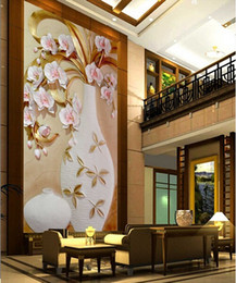Wholesale Plum Wallpaper - Large Custom Flower Vase 3D Murals for Entranceway Painting Porcelain Plum Vase 3d Wall Photo Murals