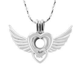 Nouveautés Plaqué argent, pendentif de cage en forme de coeur en forme de coeur, motif Ailes et amour, paquet de 5 pièces, 23.9 * 34.2 * 7.6mm ? partir de fabricateur