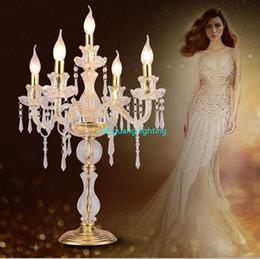 2019 lámpara de estudio clásica LED vela decoraciones de mesa vela lámpara de mesa candelabro de cristal lámparas gran restaurante comedor bar lámparas de mesa dormitorio ZT0011 #
