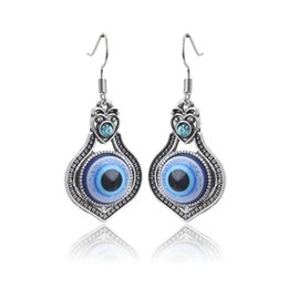 Wholesale Lucky Jade - 1 pair 45*20mm Ethnic Style Evil Eye Charms Earring Fashion Dangle Earring For Women Lucky Eye Jewelry Best Gifts