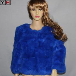 2019 abrigo largo de pavo 2018 Mujeres de invierno chaqueta de piel de conejo real abrigo 100% chaqueta de piel de conejo natural dama moda prendas de vestir exteriores envío gratis
