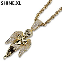 Wholesale micro angels - Hip Hop Micro Paved Zircon Angel Jesus Wing Copper Two Tone Iced Out Full Cz Pendant Necklaces Gift