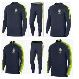 Wholesale Jersey Pant Kit - Brazil long sleeves training suit soccer jersey 2018 2019 suits sleeve pants football kits survetement football shirt