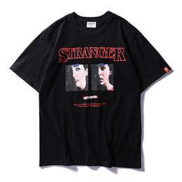 Wholesale M Screws - Stranger Print Screw Neck Hipster T-shirt Men 2018 Summer Streetwear Men's T Shirt Short Sleeve Cotton Black White T037AA