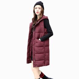 2017 nuevas mujeres de la llegada otoño chaleco de invierno chaqueta de mediana longitud con capucha señoras calientes parka algodón guata femenina chaleco delgado ZL606 desde fabricantes