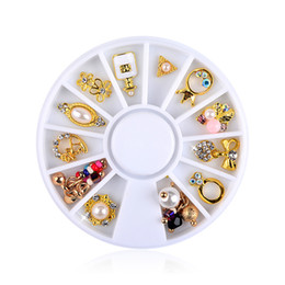 Argentina Nail Turntable Jewelry Venta al por mayor Aleación de Metal Disco Bow Pearl 12 Pack supplier wholesale metal discs Suministro