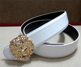 Großer weißer gürtel online-Big buckle belts with lion head belt buckle metal Designer Black White Red top quality Genuine Leather belt
