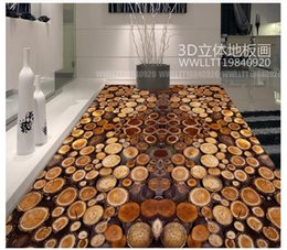 Wholesale vintage wood decor - Self-adhesive 3D wallpaper customized 3D floor painting wall paper Tree section annual rings wood 3D floor bathroom wallpaper home decor