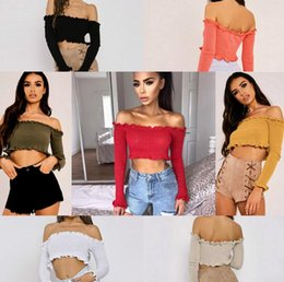 Wholesale Summer Women Jumpers - Fashion Women Off Shoulder Crop Top Long Sleeve Frill Blouse Shirt Sweater T-shirt 7 Color Jumpers Knitwear Mini Casual EEA152